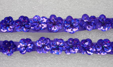BN42-3 Mini Flower Sequin Bead Applique Banding Purple 60pcs