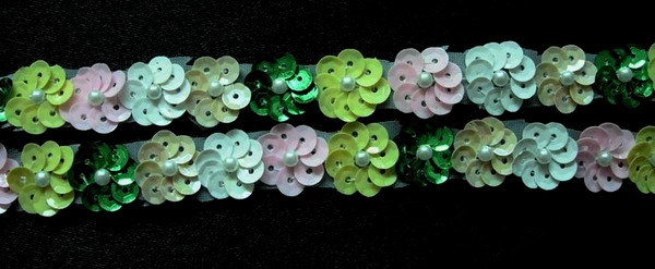 BN42 Rainbow Color Mini Sequin Flower Applique Banding 60pcs