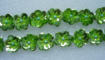 BN50-5 Lime Tier Flower Sequin Beaded Applique Banding Motif x30