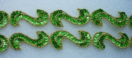 "BN69-11 39"" Sequin Bead Applique Banding ""S"" Hologram Lime"
