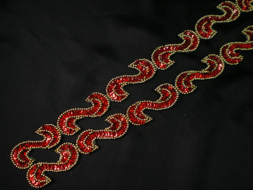 "BN69-2 39"" Sequin Bead Applique Banding ""S"" Hologram Red"