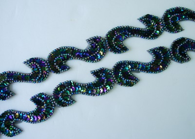 "BN69-7 39"" Sequin Bead Applique Banding ""S"" Black Iris"