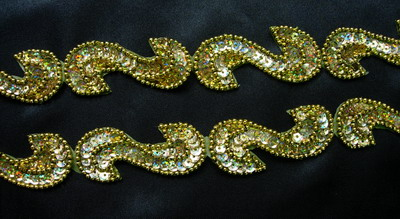 "BN69-8 39"" Sequin Bead Applique Banding ""S"" Hologram Gold"