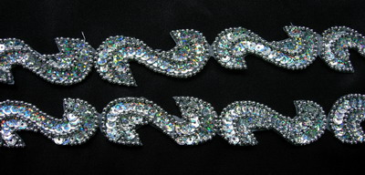 "BN69-9 39"" Sequin Bead Applique Banding ""S"" Hologram Silver"