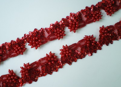 "BN84 Red Mirror Pair Sequin Bead Applique Banding 39"" 25pc"