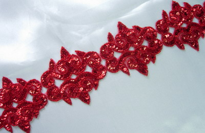 BN88 Red Mirror Fluer De Lis Sequin Bead Applique Banding 39""
