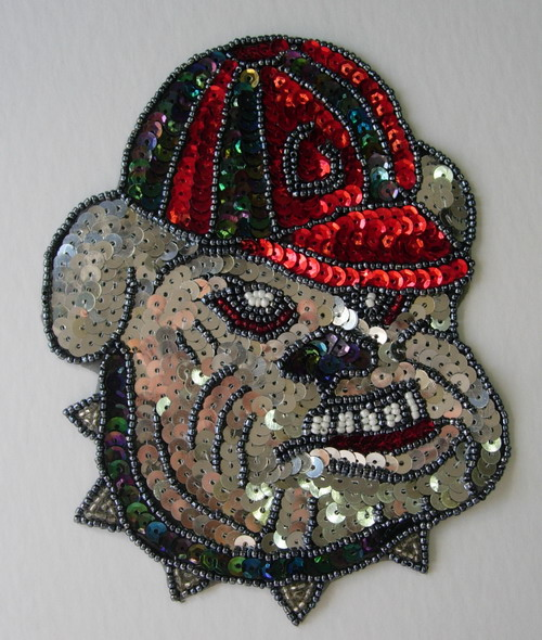 CT01 Georgia Bulldogs UGA Sequin Applique Motif Jacket/Bag
