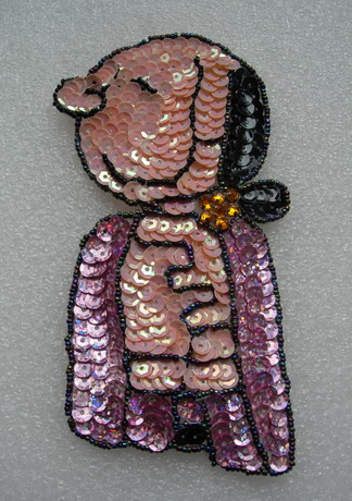 CT39 Cartoon Lady Sequined Beaded Gems Applique