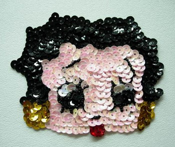 CT10 Sequin Bead Applique Betty Boop Face Motif Sew On Fashion