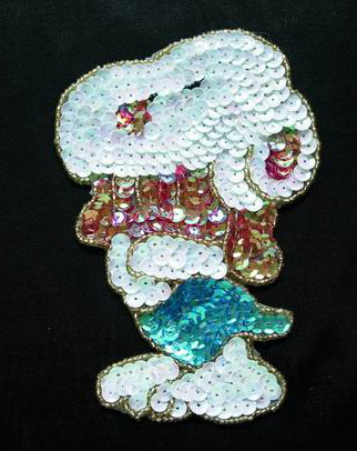 CT20 Sequin Beaded Applique Motif Lovely dog - Click Image to Close