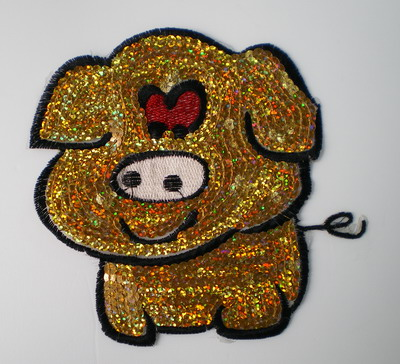 CT25 Sequin Applique Hologram Gold Cute Pig