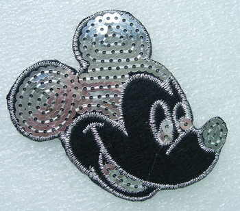 CT26 Embroidery Sequins Applique Patch Mickey Face Shirt Cap
