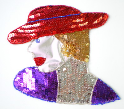 CT27 Red Hat Lady Sequins Beads Applique Large