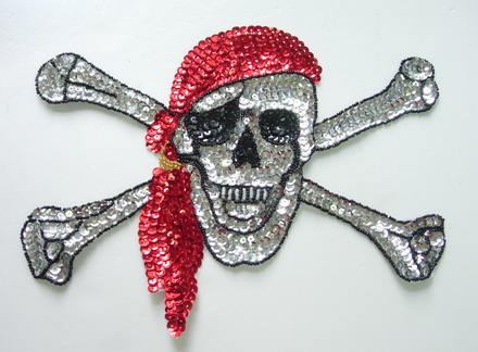 CT31 Huge Pirate Skull Sequin Beaded Applique Motif for Fashion