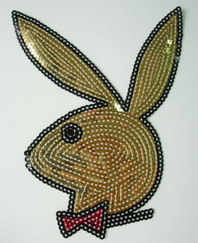 CT34 Large Rabit Bunny Embroidery Sequin Applique Patch Gold