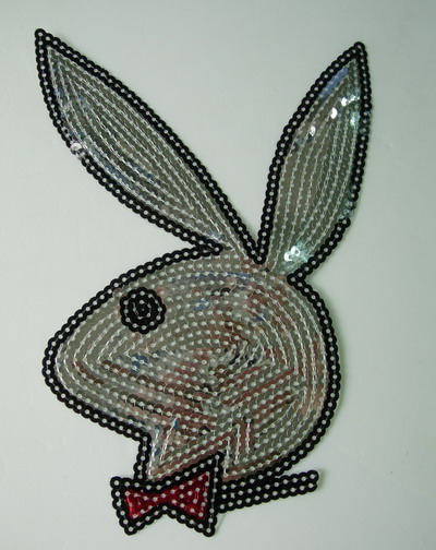 CT35 Large Rabit Bunny Embroidery Sequin Applique Patch Silver