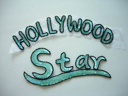 CT04 Hollywood Star Sequin Bead Applique Motif Shirt Tee Jacket