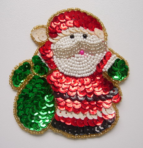 XM05 Sequin Applique Bead Motif Christmas Santa X'mas Decoration