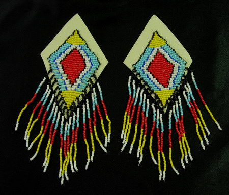 EP38 Colorful Tribal Fringed Beaded Applique Epaulette Motif x2
