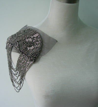 EP54 Punk Rock Fringed Bugle Beaded Epaulet Shoulder Dark Silver