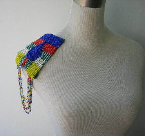 EP56 Colorful Beaded Fringed Epaulet Shoulder Applique Sew On