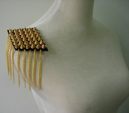 EP60 Gold Metal Tassel Stud Spike Rivet Epaulet Shoulder Punk x2