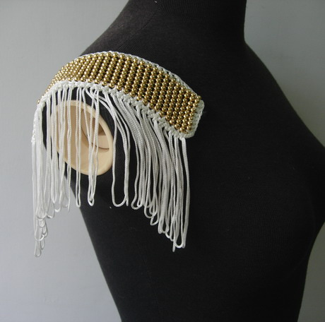 EP84 Fashion Fringed Chainettee Beaded Epaulet Shoulder Applique