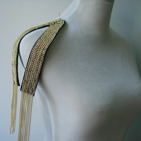 EP89 Gold Chains Fringed Epaulette Applique Sew On