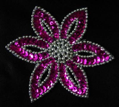 FW199-2 Fuchsia Silver Petal Flower Sequin Beaded Applique 2pcs