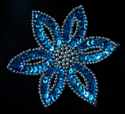 FW199-3 Aqua Silver Petal Flower Sequin Beaded Applique 2pcs