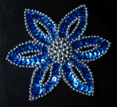 FW199-6 Blue Silver Petal Flower Sequin Beaded Applique 2pcs