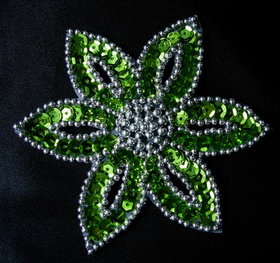 FW199-7 Lime Silver Petal Flower Sequin Beaded Applique 2pcs