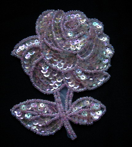 FW34 Floral Rose Sequined Beaded Applique Crystal Pink