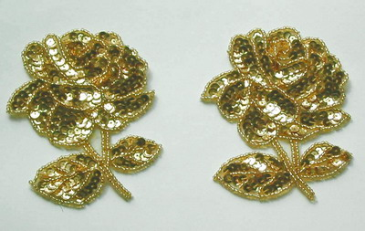 FW31 Rose Flower Floral Sequin Beaded Applique Gold 2pcs