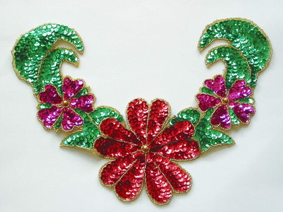 NK129 Colorful Floral Necklace Sequin Bead Applique X'mas Dress