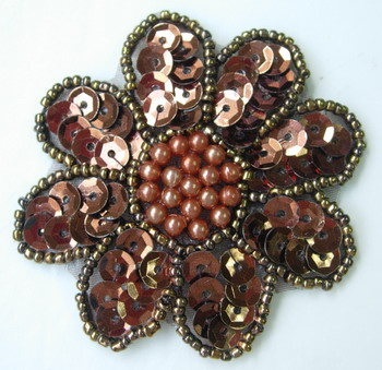 FW04 Petals Flower Sequin Bead Applique Brown 5pcs