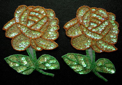 FW105 Sequin Bead Applique Orange Rose Motif 2pcs Sew Trimming