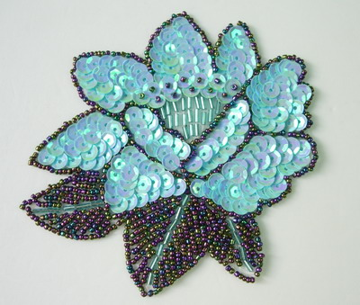 FW106-2 Sequin Bead Applique Peony Flower Motif Blue Sew/Trim