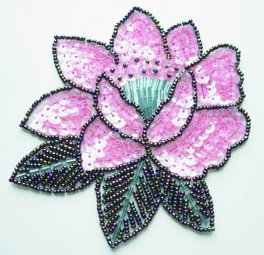 FW106 Sequin Bead Applique Peony Flower Motif Pink Sew Trimming