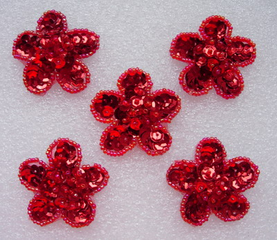 FW109 Sequin Bead Applique Starflower Motif Red 10pcs