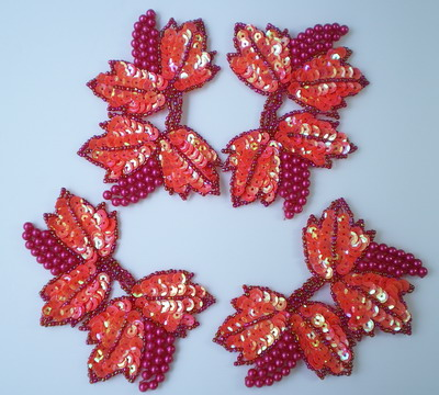 FW116 Grape Floral Vines Sequin Beaded Applique Coral Red x4