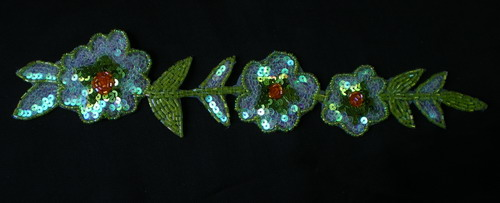 FW120 Sequin Bead Bugle Applique Crystal Lime Flower Motif