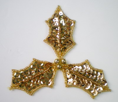 FW124 Sequin Bead Applique Christmas Leaf Gold Motif 2pcs