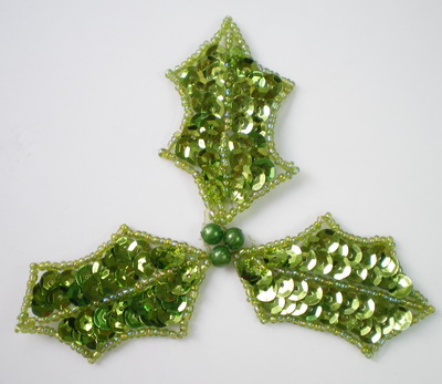 FW129 Sequin Bead Applique Christmas Leaf Lime Motif 2pcs