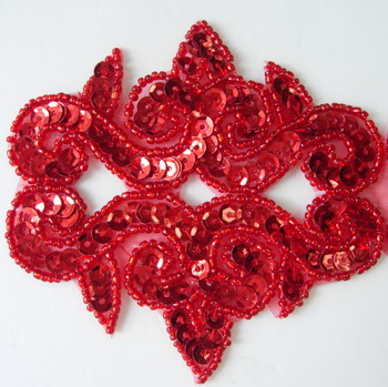 FW133-3 Sequin Bead Applique Motif Fleur De Lis Flower Red