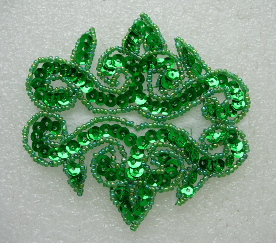 FW133-6 Sequin Bead Applique Motif Fleur De Lis Flower Green