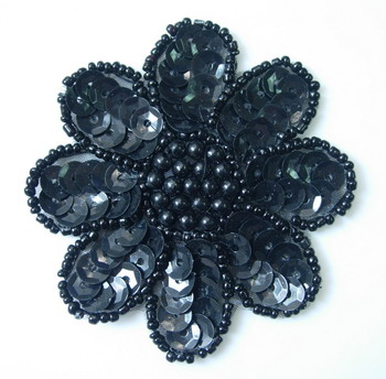 FW14-4 Petal Flower Sequin Bead Applique Black 5pcs