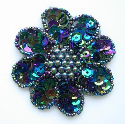 FW14-7 Petals Flower Sequin Bead Applique Black Iris 5pcs