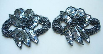 FW143 Flower Bugle Bead Sequin Applique Grey x2
