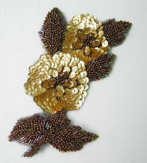 FW146 Gold Brown Flower Sequin Bead Bugle Applique